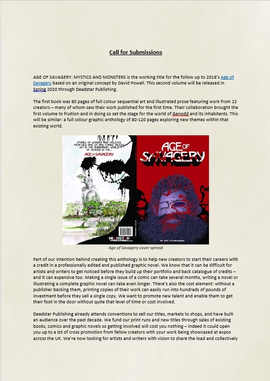 Cover page of Age of Savagery 2 submission guidelines