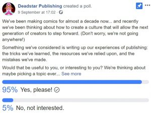 Facebook Poll asking whether people wanted us to pass on our knowledge